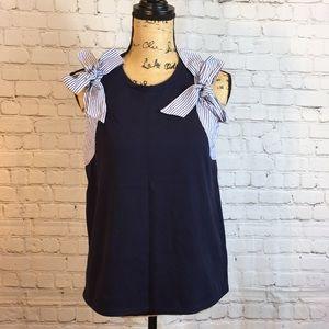 J Crew cute navy blue top w striped bow sleeve